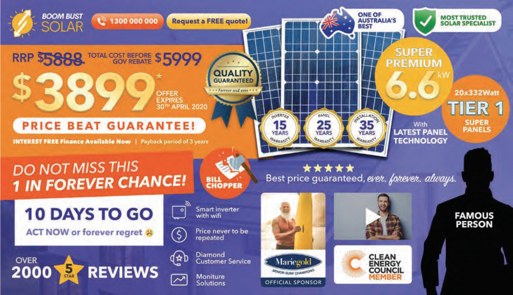 Cheap solar advertising, big discounts and reputable company, right?